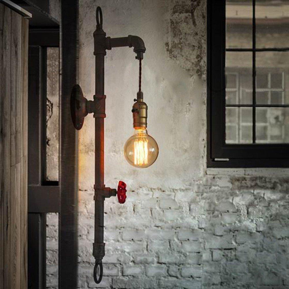 Water Pipe Wandleuchte, SUN RUN Metall Vintage Industrial Wandleuchte mit Retro-Stil für Bar, Küche, Wohnzimmer und Schlafzimmer, E26 Sockel-Lampe Küche