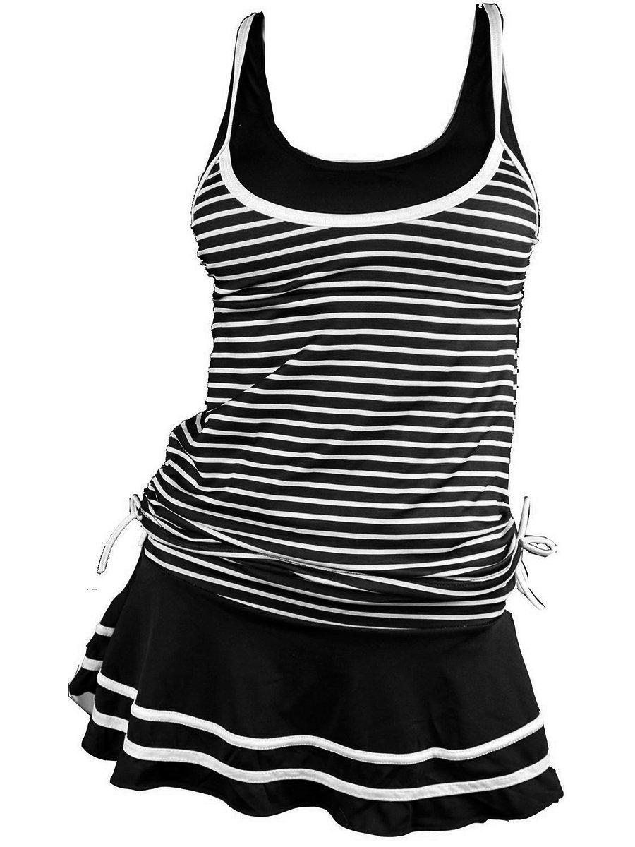MiYang Women's Tankini Striped Vintage Swim Dress (Black X-Large)