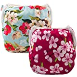(one Size (0-2 Years Old), Flowers 02) - ALVABABY Swim Nappies 2pcs Reuseable & Adjustable for Baby Swimming Lessons