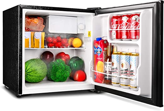 mini fridge and cabinet