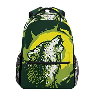5b55794ec01 Amazon.com   LORVIES Wolf Howling Casual Backpack School Bag Travel ...