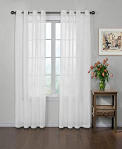 "CURTAIN FRESH Arm and Hammer Odor Neutralizing Sheer Voile Window Curtains for Bedroom or Living Room (Single Panel), 59"" x 84"", White"