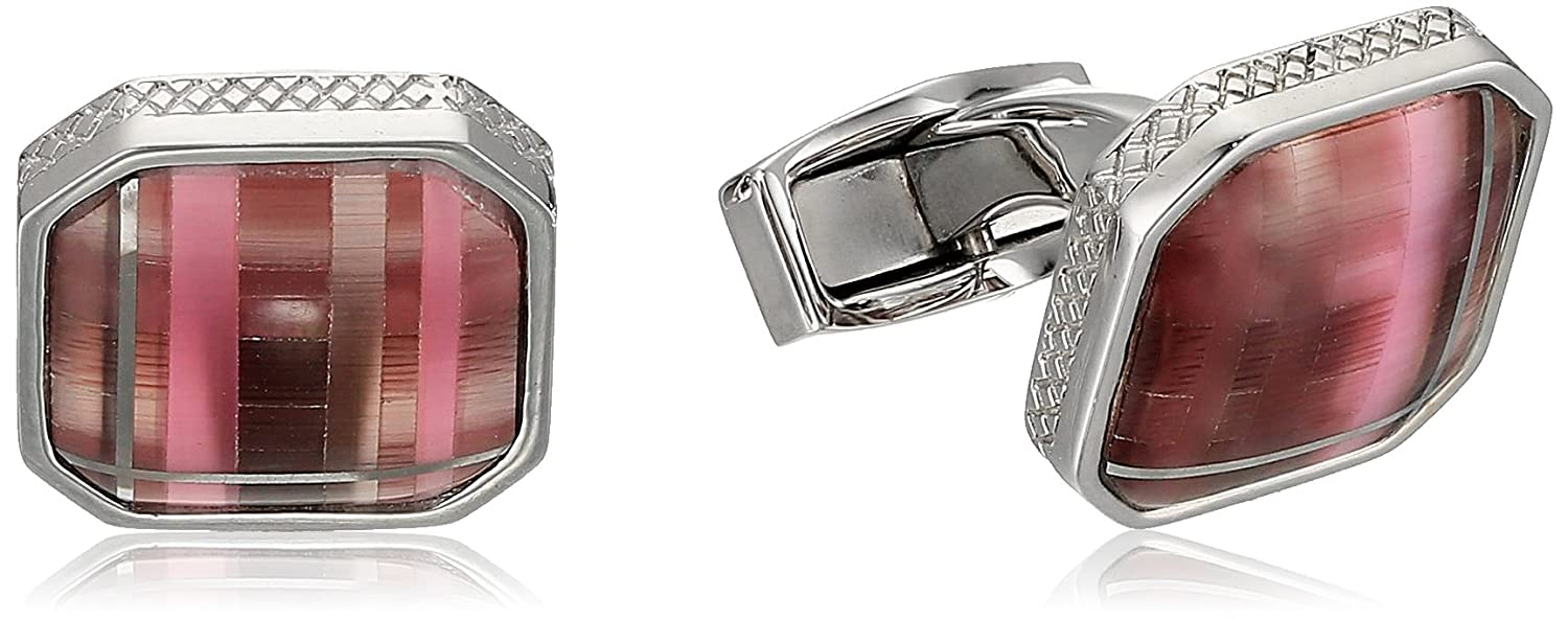 Tateossian Rhodium Fiber Optic Glass Purple Square Tartan Cuff Link Tateossian Jewelry CL3747