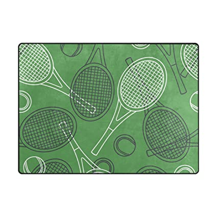 ALAZA Super Soft Modern Tennis Rackets And Balls Area Rugs Living Room Carpet Bedroom Rug for