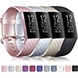 Tobfit Sport Bands Compatible with Fitbit Charge 3 Bands for Women Men, Classic Replacement Charge 3 SE Accessories Wristbands, Small Large, 4 Pack