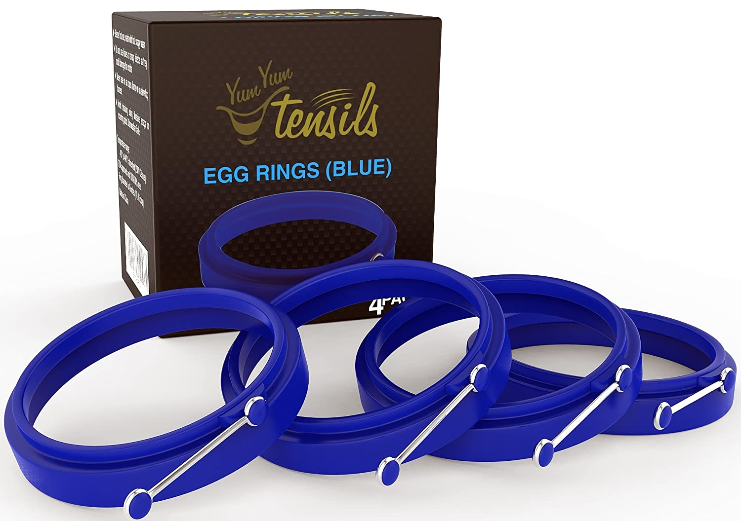 New Egg Ring 4-Pk, Silicone Egg Rings Non Stick, Perfect Fried Egg Mold or Pancake Rings, Egg Cooking Rings for Stunning Breakfasts Every Time - no More Eggy Pan Mess. Blue 4-pk by YumYum Utensils