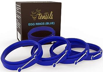 Molde anillo de silicona para huevos/tortitas. Caja de 4 anillos antiadherentes azules YumYum