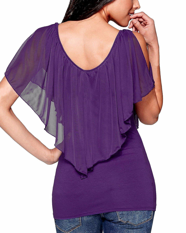 StyleDome Zanzea Mujeres Casual Oficina Elegante Chiffón Blusa Camiseta Cuello V Mangas Cortas Abiertas: Amazon.es: Ropa y accesorios