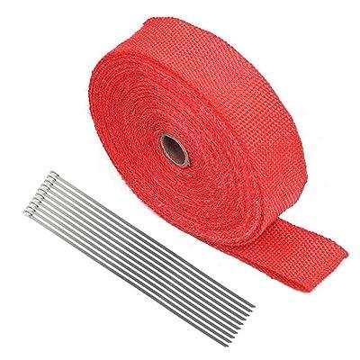 """2"""" x 50Ft Red Roll Fiberglass Exhaust Header Pipe Heat Wrap Tape + 10 Zip Ties: Automotive"""