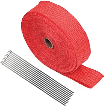 10 Ties Kit 1x 2″ 50Ft Blue Fiberglass Exhaust Header Pipe Heat Wrap Tape