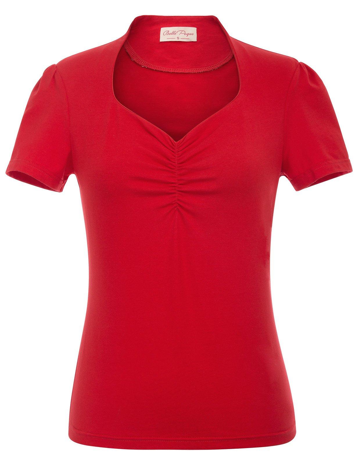 Belle Poque Women's Retro Vintage Short Sleeve V-Neck Causal Blouse Tops Red Size S BP563-2
