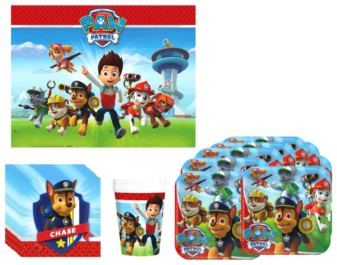Paw Patrol Birthday Party Supplies Bundle Kit Including Plates, Cups, Napkins and Table cover - 8 Guests