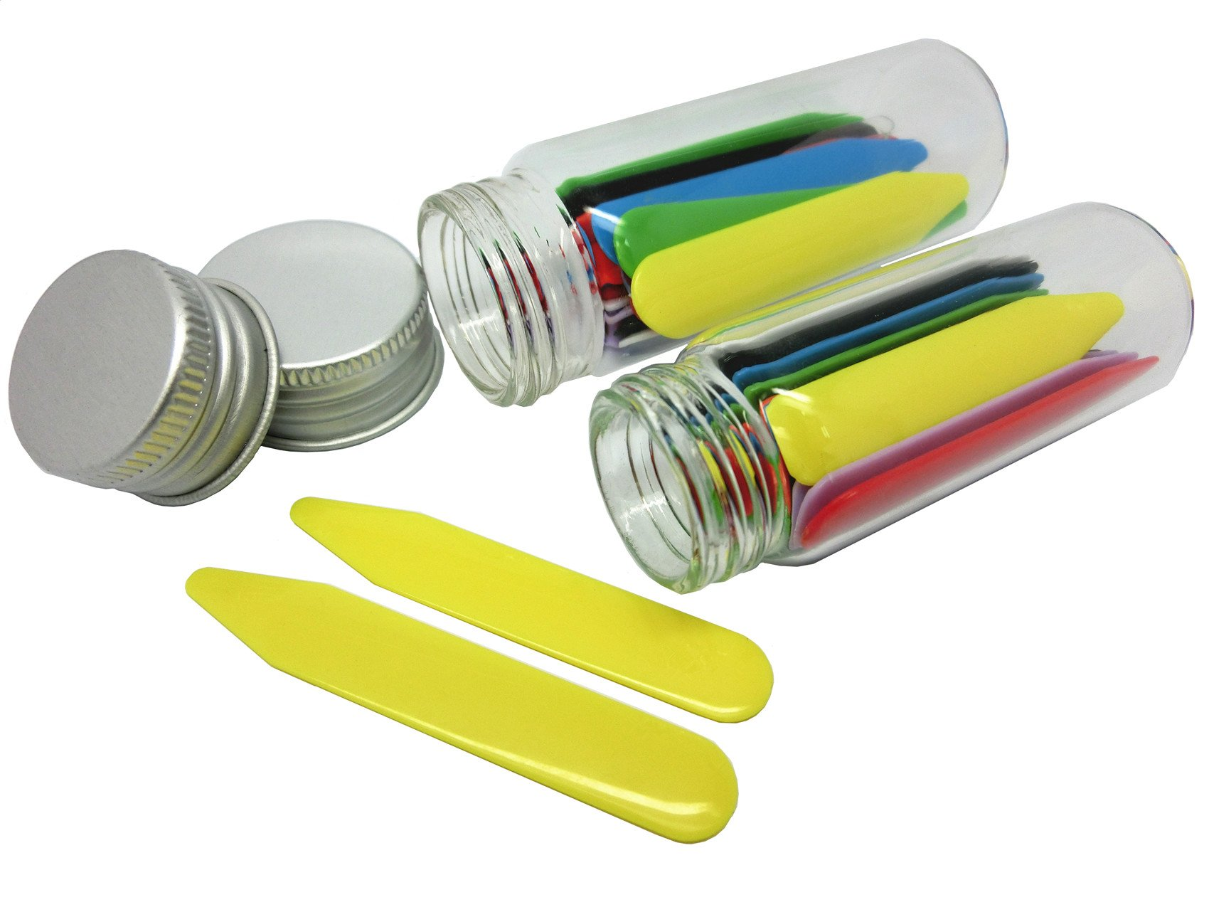 Shang Zun 28 Pcs Colorful Plastic Collar Stays in 2 Glass Bottles 2''/2.37''
