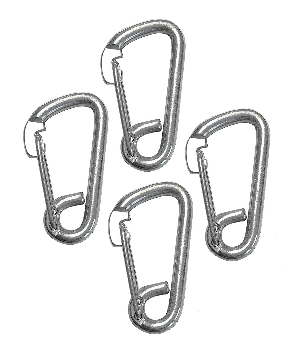 4 Pieces Stainless Steel 316 Spring Hook Carabiner 1/4'' (6mm) Marine Grade Safety Clip