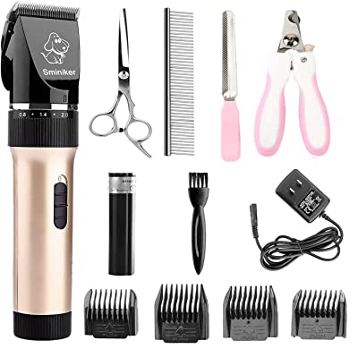 Sminiker Professional Low Noise Rechargeable Cordless Cat and Dog Clippers