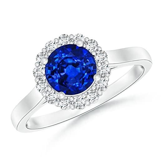 Angara Cathedral Style Diamond Halo Blue Sapphire Ring in Yellow Gold nF5BoKJZ