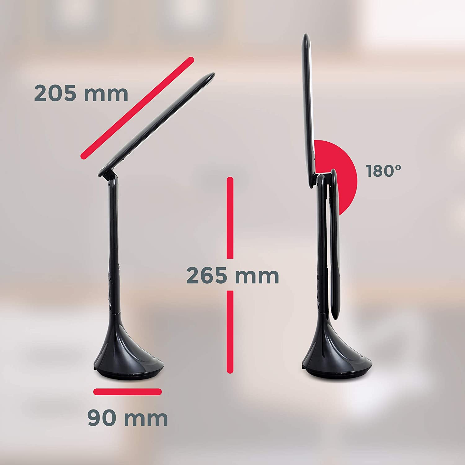 Touch Control Portable Reading lamp for Office Bedside Light Study Thermometer Neutral White 4000K Adjustable Brightness Alarmclock Bedroom B.K.Licht Rechargeable LED Desk lamp