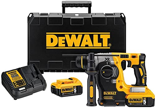 DEWALT 20V MAX SDS Rotary Hammer Drill Kit, 5-Ah Batteries DCH273P2