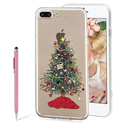 f25c207aba Merry Christmas Series New Fashion Painted Christmas Tree Pattern  Transparent TPU Silicone Protective Ultra Slim Clear