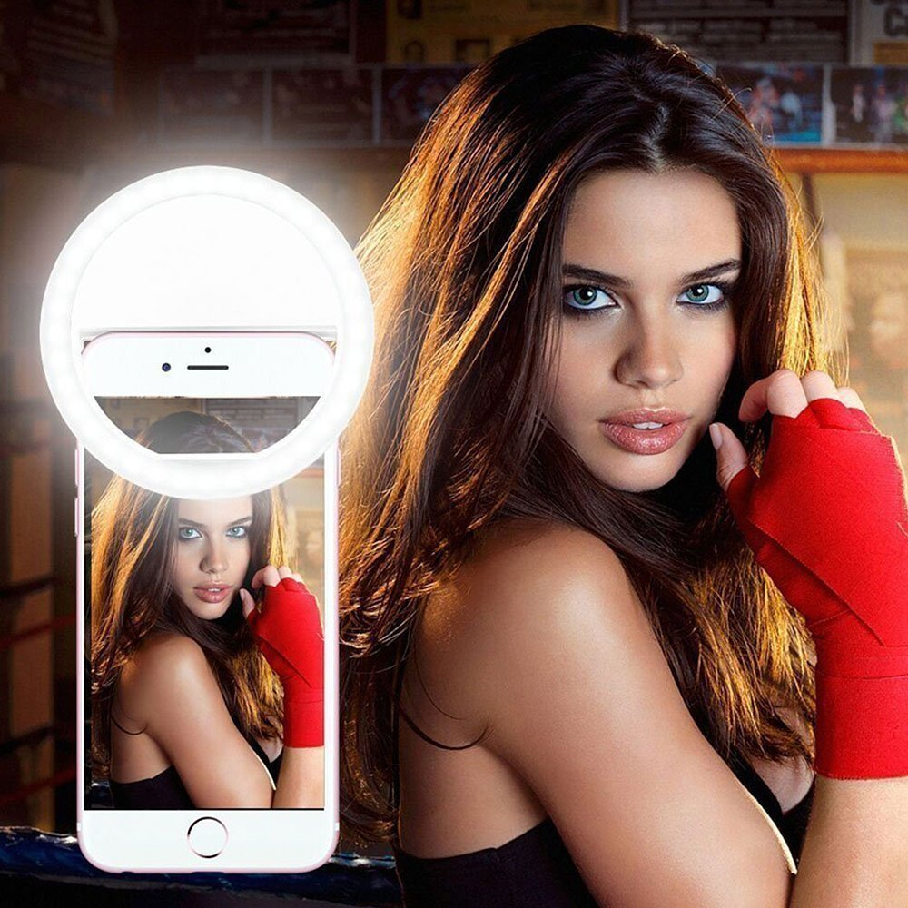 Selfie Ring Light for Phone Camera Photography Video, Rechargeable Clip 38 LED Brightness Adjustable for iphones, ipads & android phones