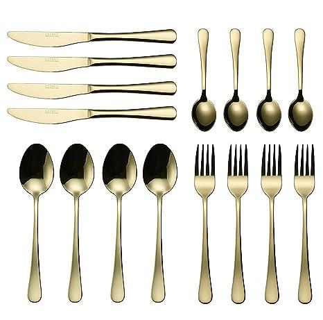 Kaifang Juego de cubiertos de 16 piezas, acero inoxidable dorado, juego de cubiertos de