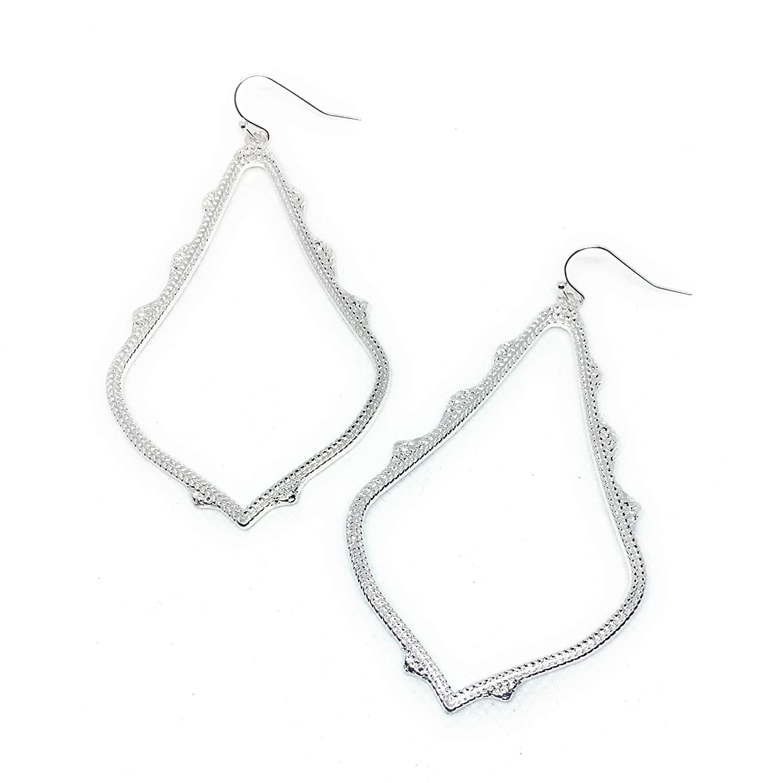 X-tra Large Trendy Open Filigree Metal Earrings in Silver Tone