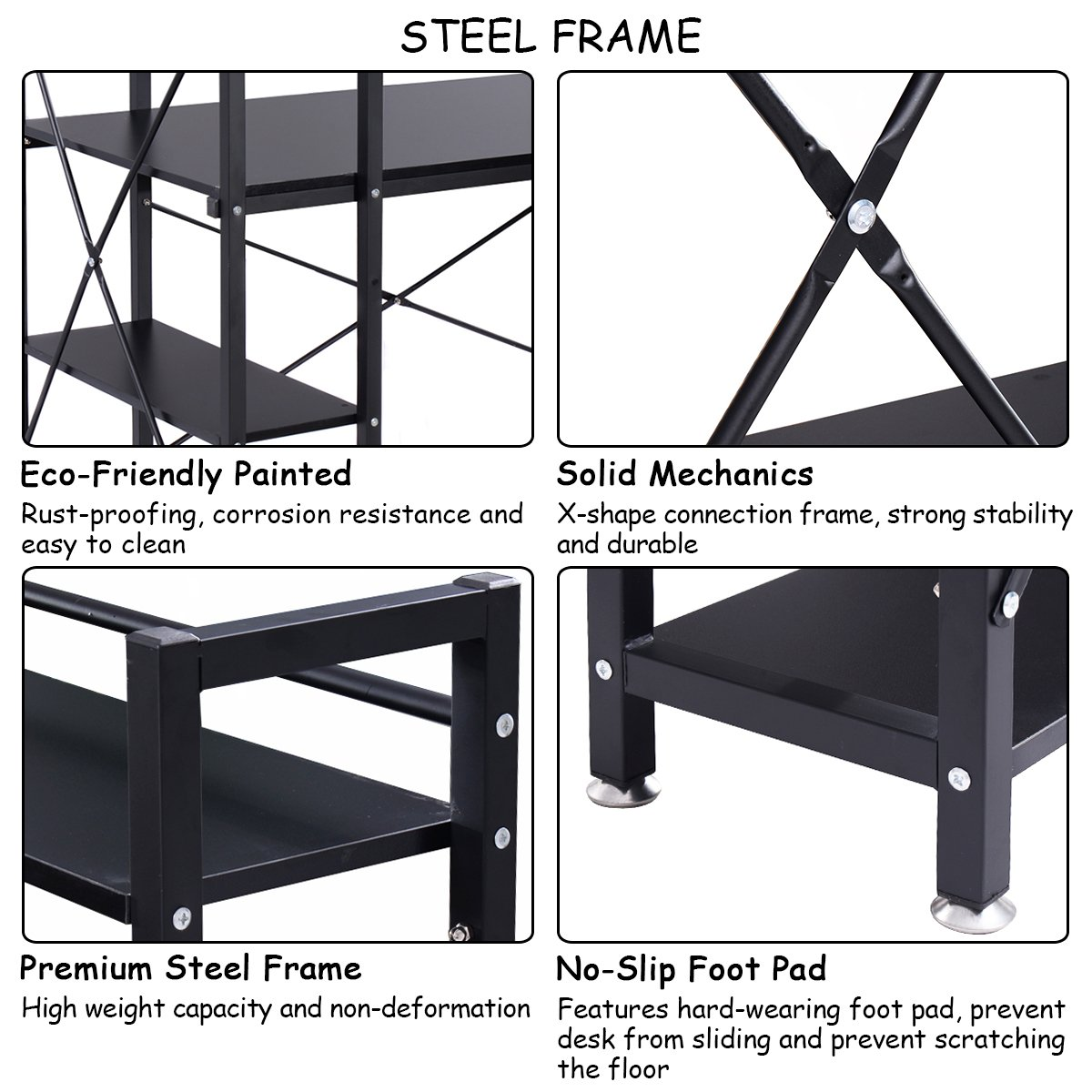 TANGKULA Computer Desk Modern Style Writing Study Table with 4 Tier Bookshelves Home Office Compact Multipurpose Workstation(Black)