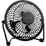 GLAMOURIC Mini Metal Table Fan Small USB Quiet Portable Desk Fan High Compatibility Black - For Home, Office