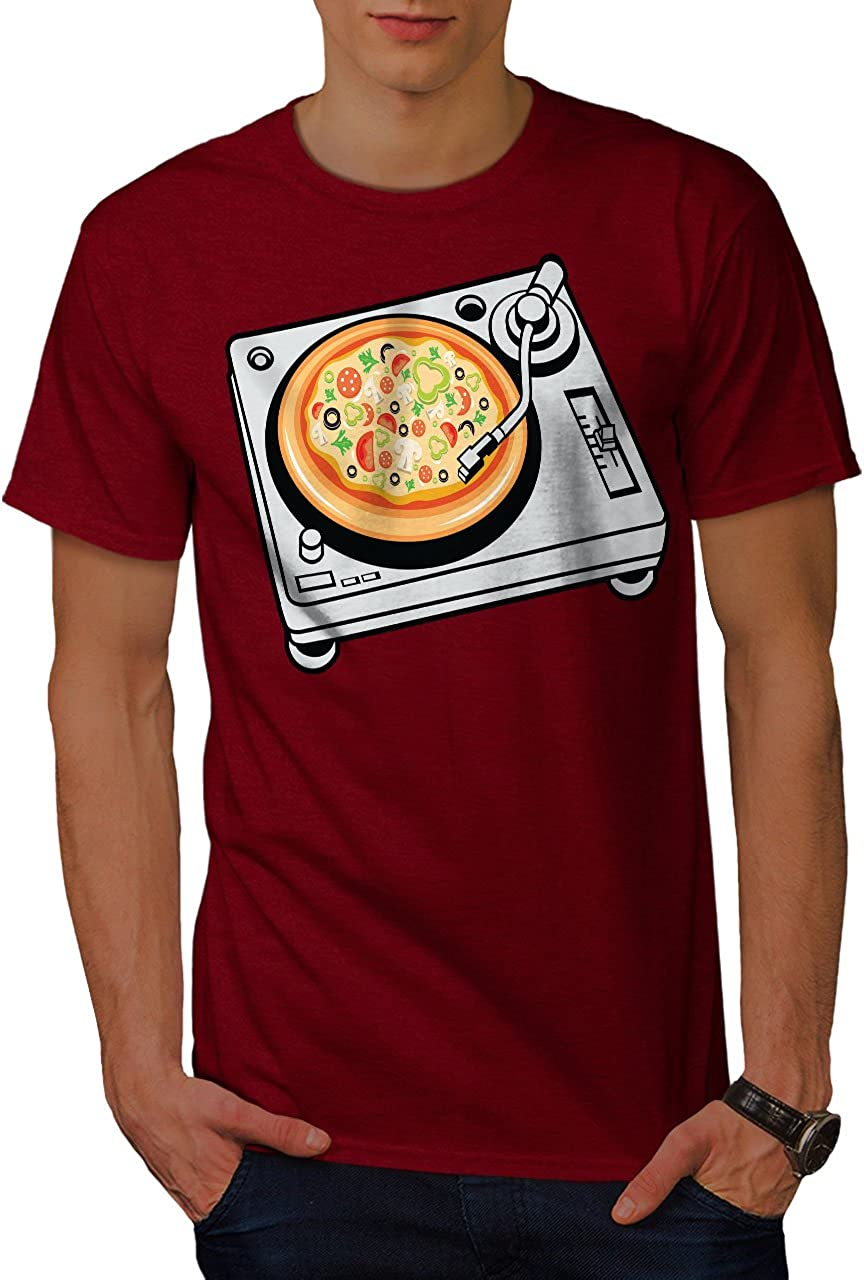 wellcoda Pizza Dj Mix Music Food Mens T-Shirt, Graphic Printed Tee