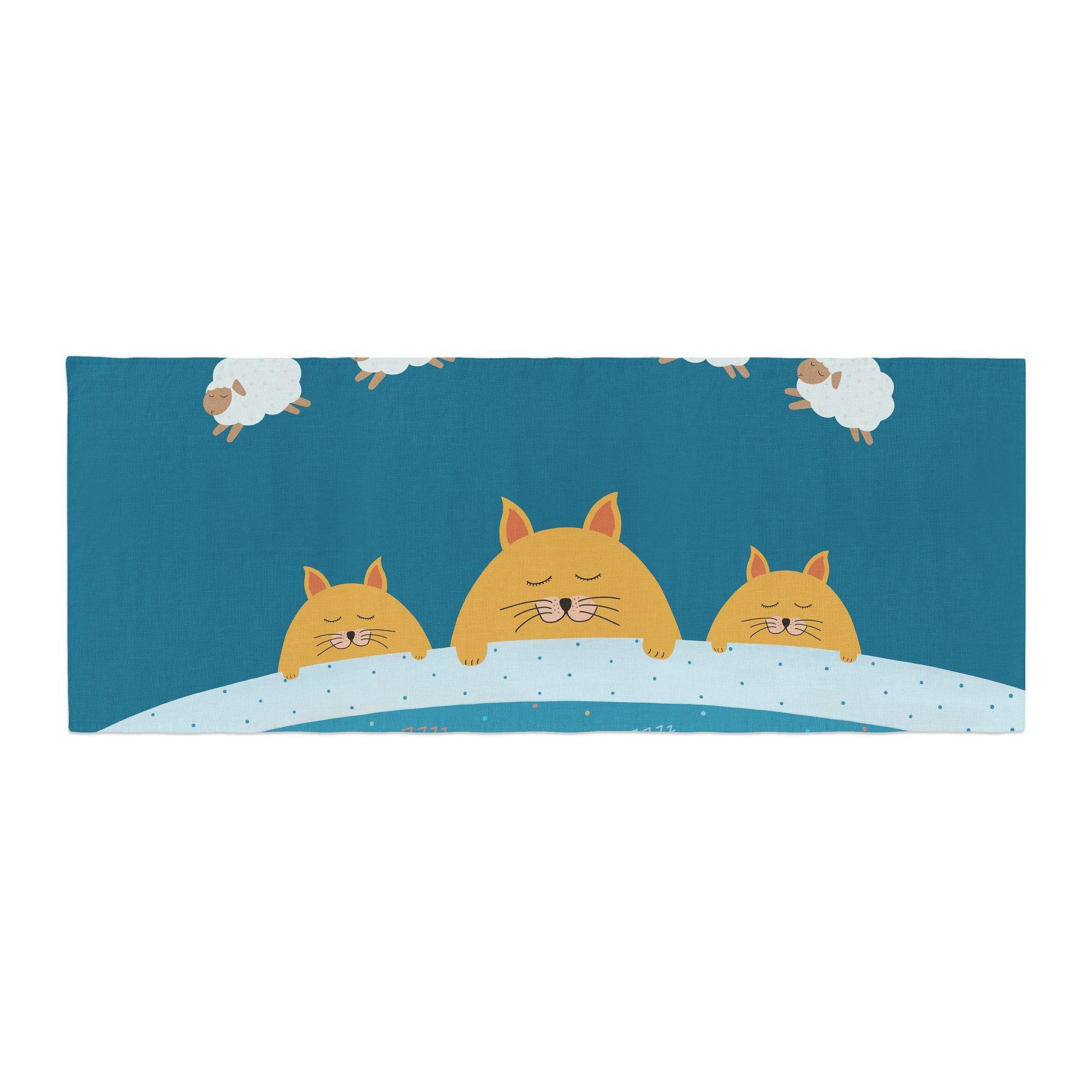 Kess InHouse Cristina bianco Design Sleeping Cats Zzzz Teal Animals Bed Runner, 34'' x 86''