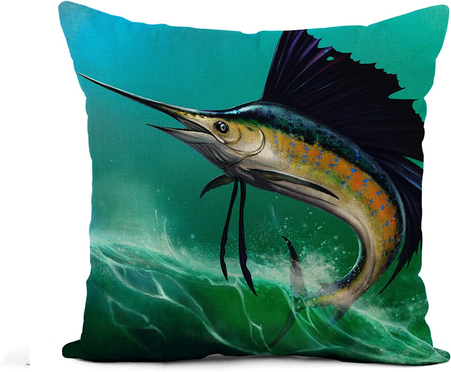 Awowee Flax Throw Pillow Cover Blue Marlin Sailfish of Waves in Jump Jumping Swordfish 20x20 Inches Pillowcase Home Decor Square Cotton Linen Pillow Case Cushion Cover