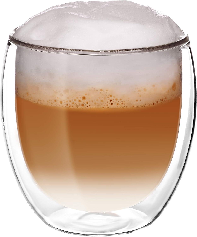 doppelwandige Gl/äser Kaffee ideal geeignet f/ür Hei/ß- oder Kaltgetr/änke wie Tee 2 Glassquisite Cocktails Thermogl/äser Wasser je 300 ml Cappuccino 2er Set mit Schwebe-Effekt