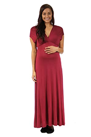 16e8b498d3eb2 24seven Comfort Apparel Maternity Clothes for Women Cap Sleeve V Neck Empire  Waist Maxi Dress - Made in USA - (Sizes S-3XL) at Amazon Women's Clothing  store ...