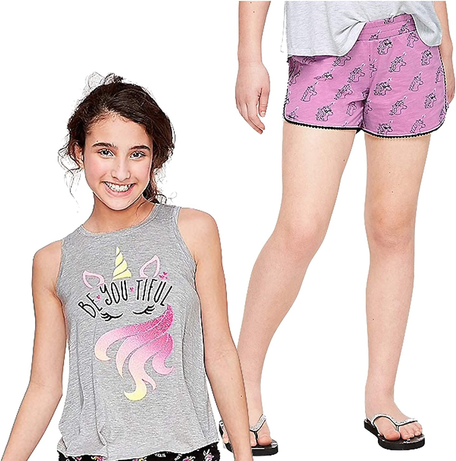 Justice Girls Set of Shorts and Swingy Tank or Tee