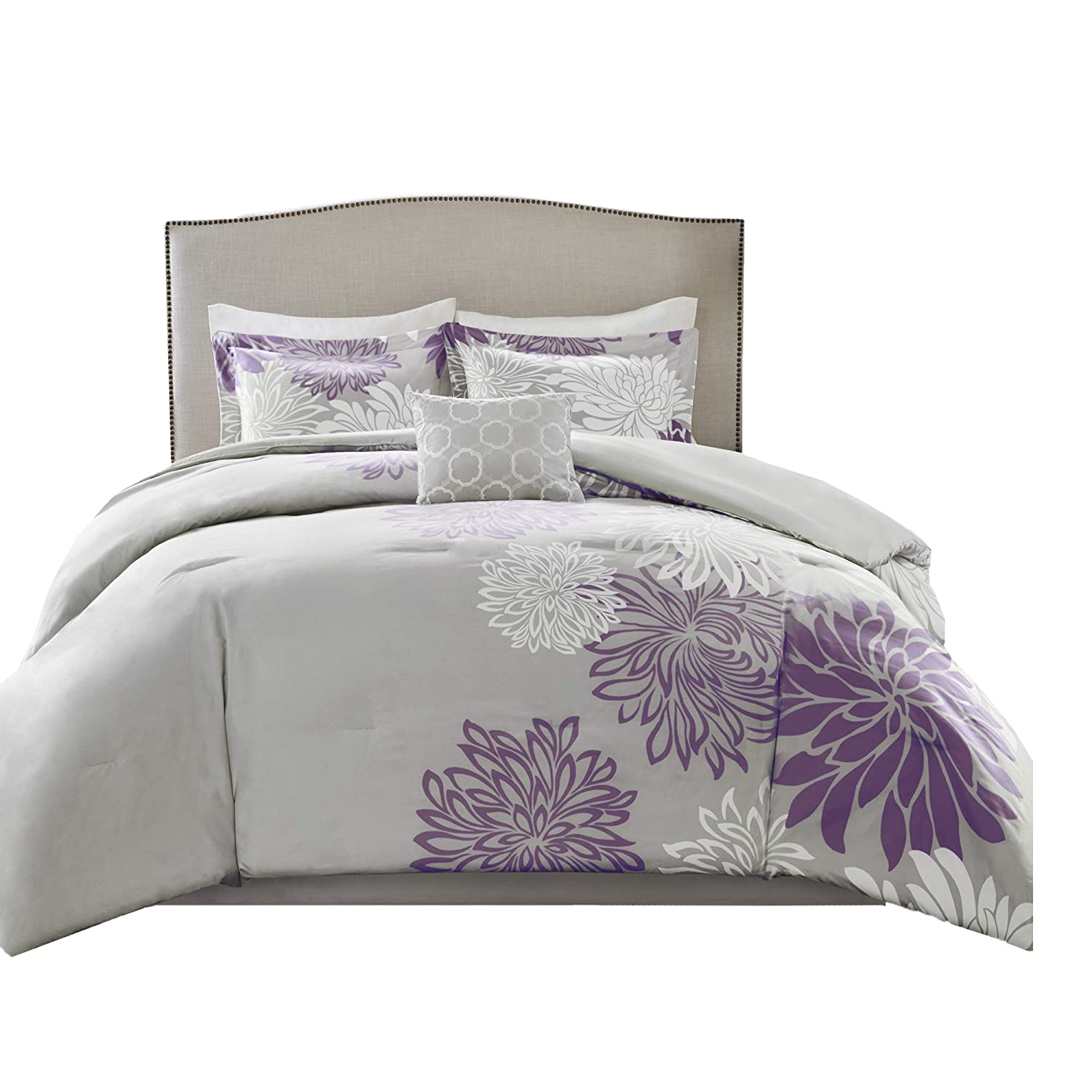 Comfort Spaces Enya 5 Piece Comforter Set Ultra Soft Hypoallergenic Microfiber Floral Print Bedding, Full/Queen, Purple/Grey