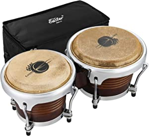 Eastar Professional Bongo Drums 7'' and 8'' Buffalo Leather African Drum Bongos for Adults Musicians Beginners Wood Percussion Instrument with Bag and Tuning Wrench, Special Antique Finish, EBO-21