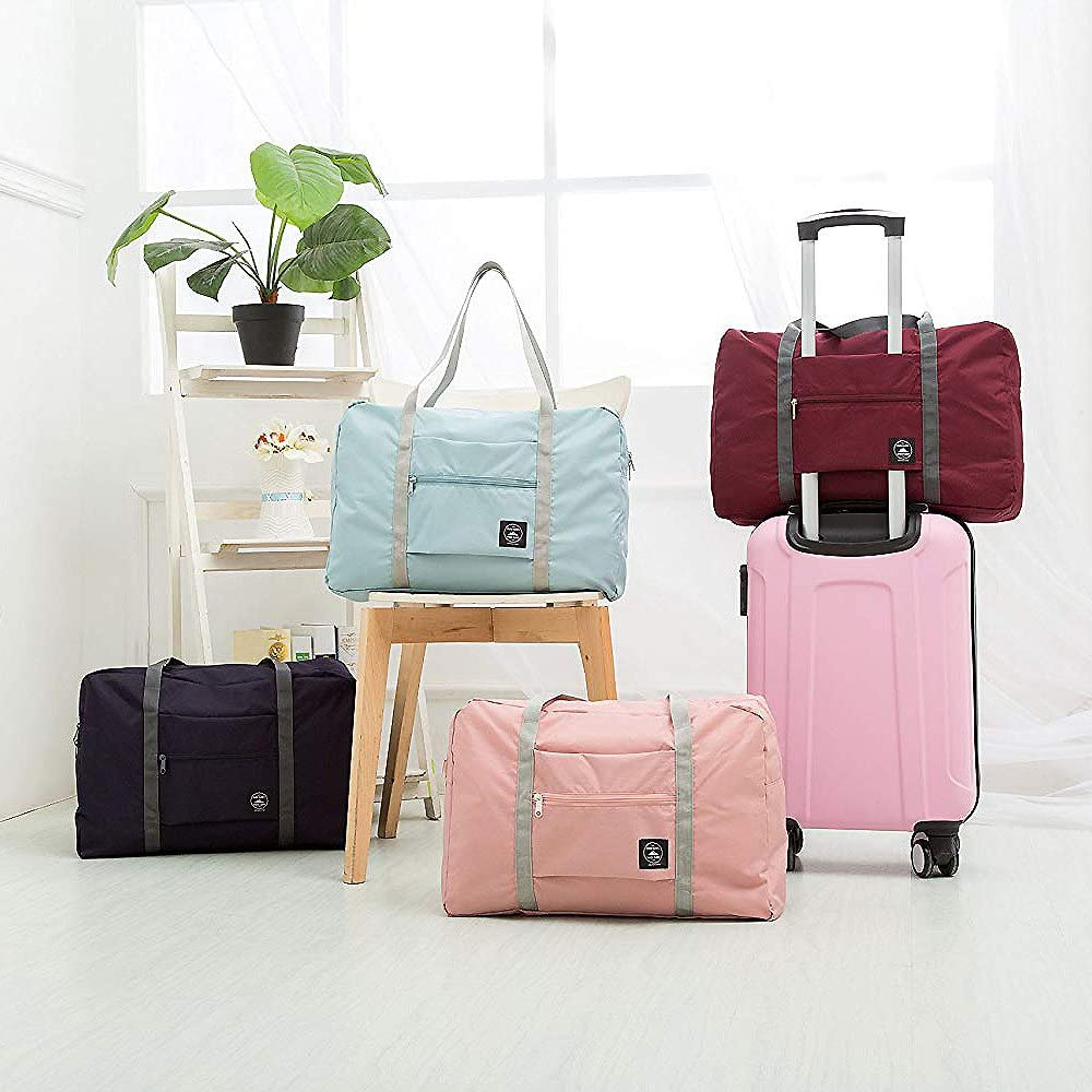 Unova Folding Travel Duffel Bag Packable Light Nylon Water Resistant Tote Weekend Getaway Overnight Carry-on Shoulder Mint Green
