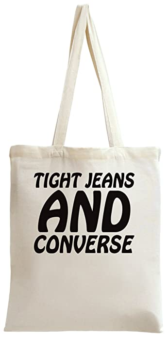 ab79adf6e044 Tight Jeans And Converse Slogan Tote Bag  Amazon.co.uk  Shoes   Bags