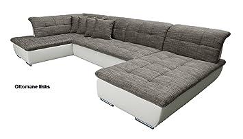 Sofa U Form Wohnlandschaft Couch Farus Grau Weiss Amazon De