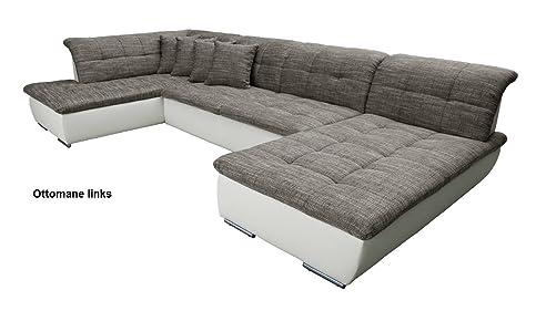 Couch u form maße  Sofa U-Form Wohnlandschaft Couch FARUS (grau / weiß): Amazon.de ...