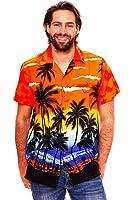 King Kameha | Funky Hawaiihemd | Herren | XS - 12XL | Kurzarm | Front-Tasche | Hawaii-Print | Strand Palmen Meer | Orange