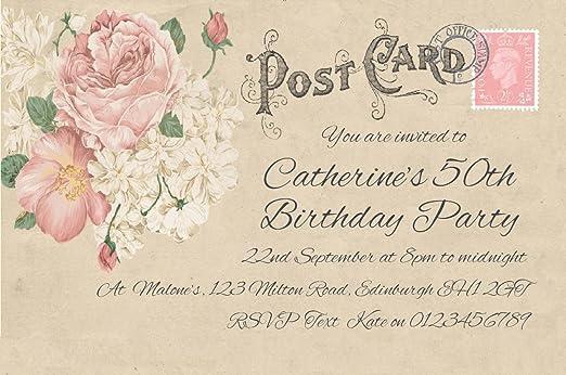 50 invitaciones de fiesta personalizado para usted. Vintage ...