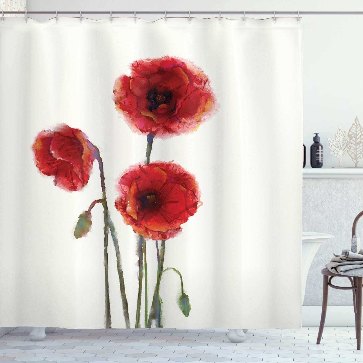 Ambesonne Watercolor Flower Shower Curtain, Poppy Flowers Spring Blossoms with Watercolor Painting Effect, Cloth Fabric Bathroom Decor Set with Hooks, 70