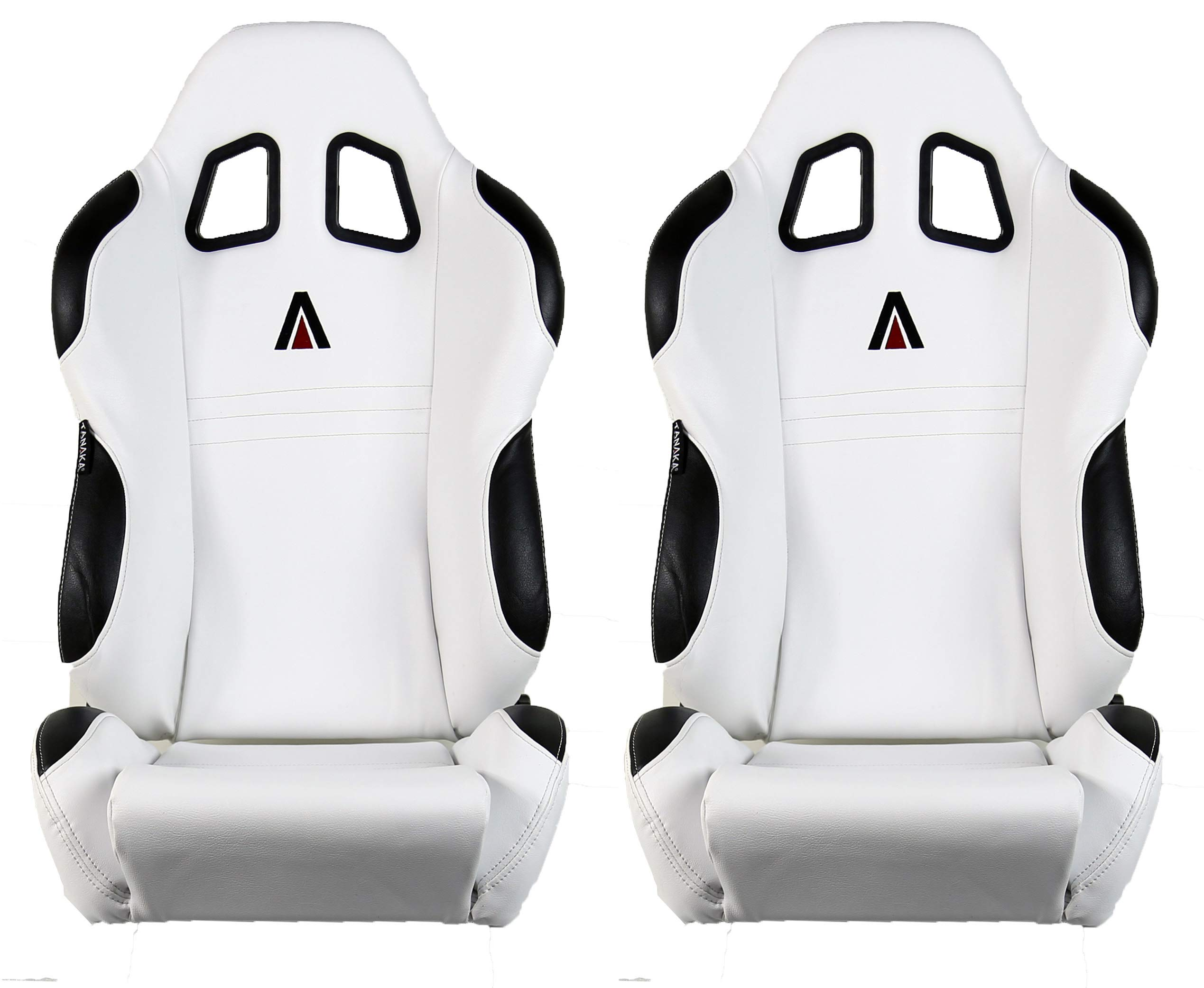 Tanaka Black Faux Leather Reclinable Sport Racing Seat-Pair (Black White)