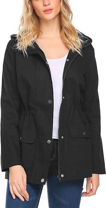 33cd55e0e7f Beyove Women's Military Anorak Utility Classic Safari Jacket with Pockets