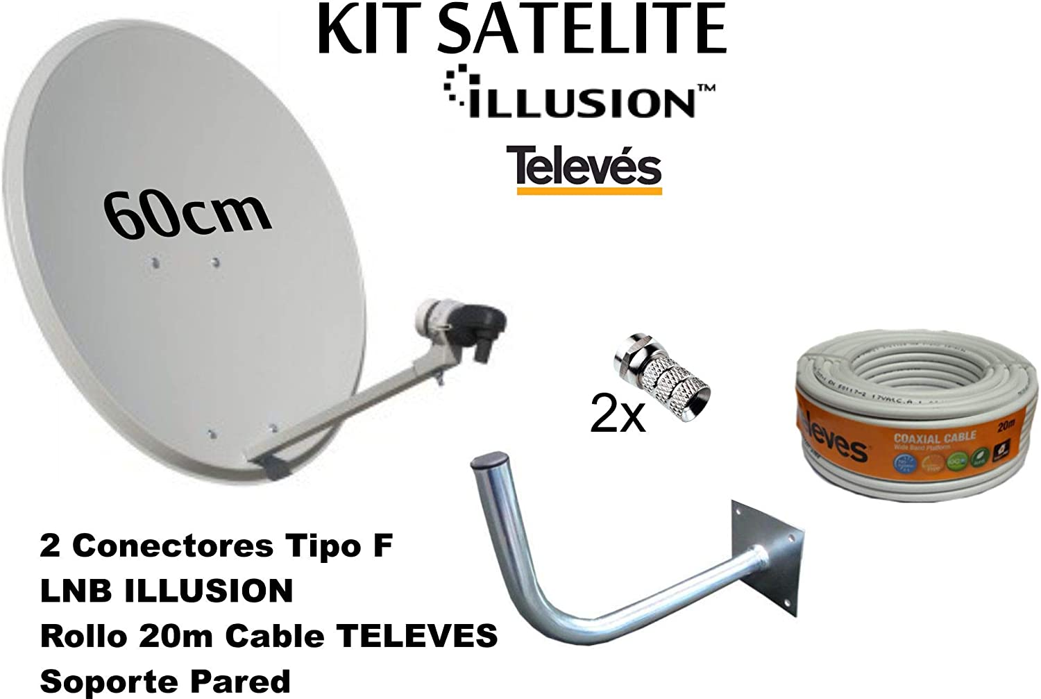 Kit Antena PARABOLICA 60cm Marca Tecatel + Soporte Pared + Rollo 20m TELEVES + LNB Illusion