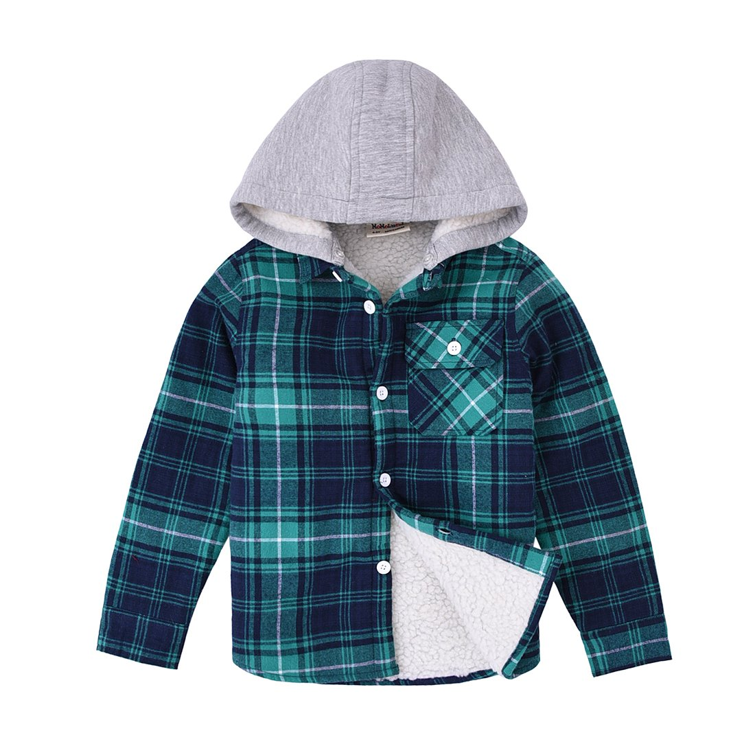 MOMOLAND Little Boys Long Sleeve Sherpa Lined Flannel Shirt Jacket with Hood (4-5Y, Green and Navy)