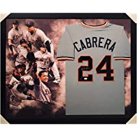 $592 » Autographed Miguel Cabrera Jersey - Framed Player Layout Pro Edition Grey) - JSA Certified - Autographed MLB Jerseys