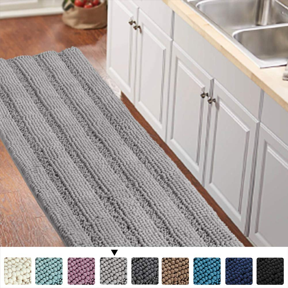 "Gray Kitchen Runner Chenille Shag Area Rug Non Slip Backing for Kitchen Floor Runner Rug with Water Absorbent Bath Room Mat for Kitchen/Tub/Living Room, 59"" X 20"", Dove Gray, Striped Pattern"