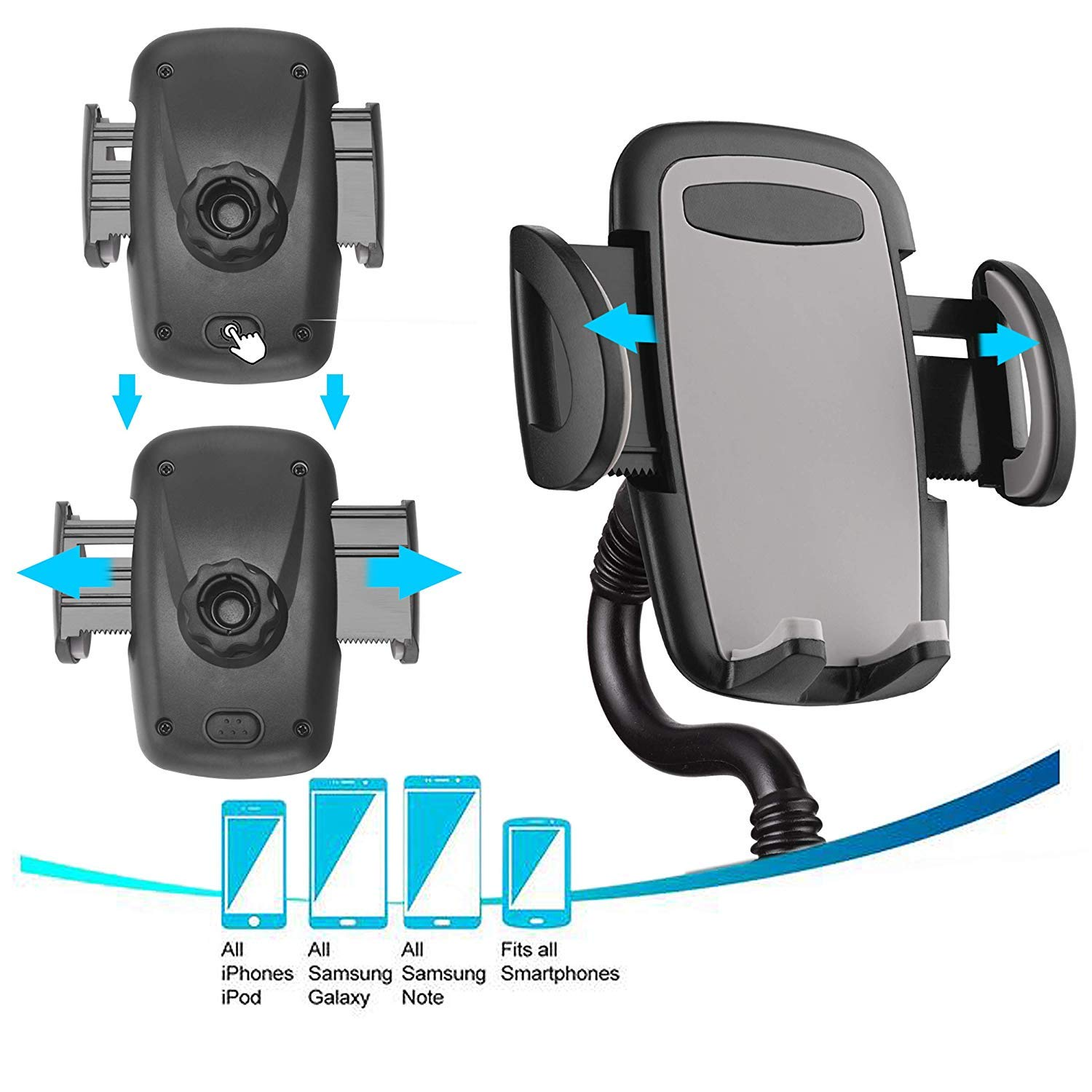 MQOUNY Cup Holder Phone Mount,Long Arm Cell Phone Cup Car Phone Holder /& Air Vent Car Phone Mount Compatible for iPhone XR//XS//XS Max//X//8//8 Plus Gray Samsung S10//S10e//S9+//8//8 and More